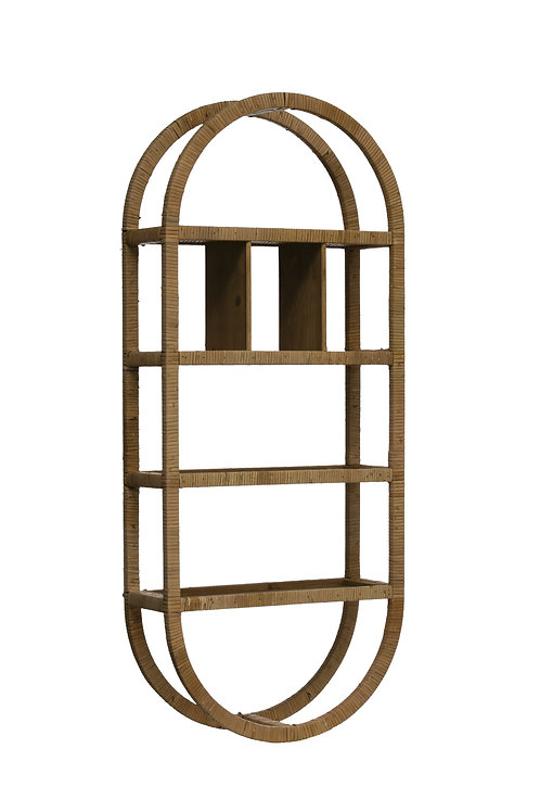 "42""H Oval Rattan Wrapped Wall Shelf with 6 Compartments (Hangs Vertical or Horiz"