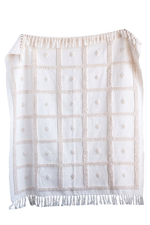Cream Cotton Chenille Throw with Looped Design & Tassels