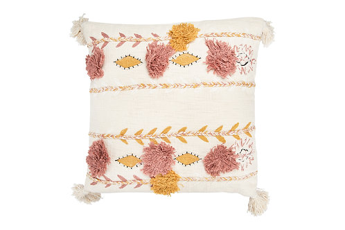White Cotton Pillow with Tassels