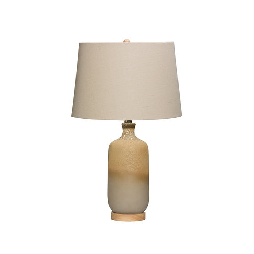 2-Tone Ceramic Table Lamp & Linen Shade