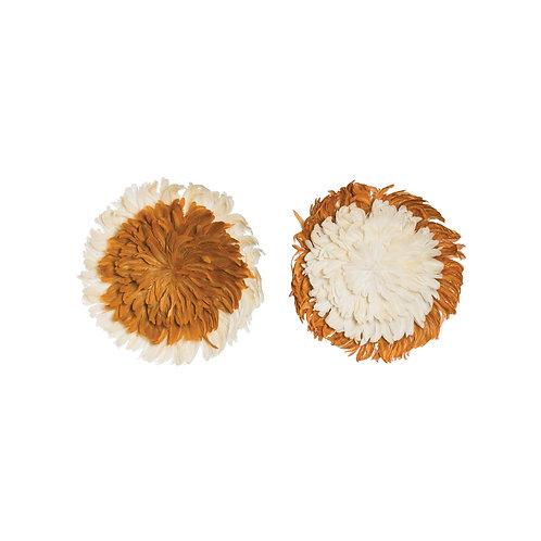 Rust Orange & Cream Feather Wall Décor (Set of 2 Styles)
