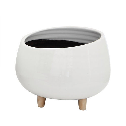 White Planter with Wood Feet