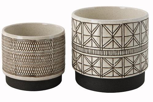 White Stoneware Planters with Black Designs (Set of 2 Designs)