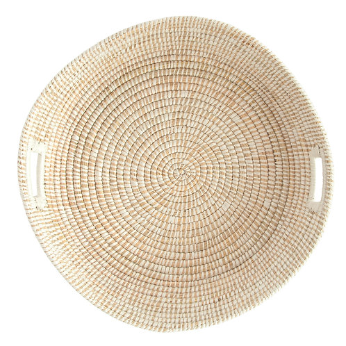 White Handwoven Grass Basket with Handles