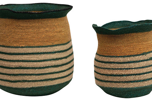 "13.25"" & 14.25"" Handwoven Natural Seagrass Striped Baskets (Set of 2 Sizes)"