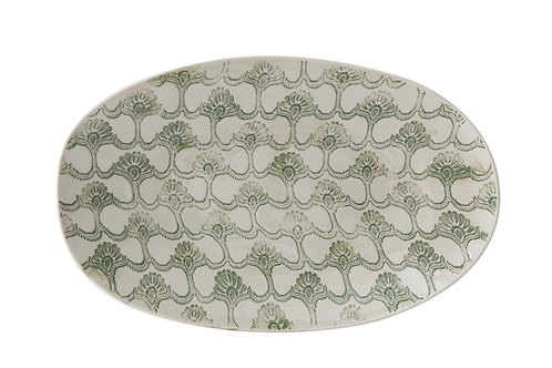 Large Oval Stoneware Platter with Hand-Stamped & Embossed Green Pattern