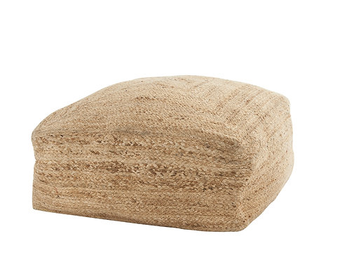 Brown Jute Braided Pouf