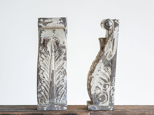 Heavily Distressed Hand Carved Mango Wood Corbels/Bookends (Set of 2 Pieces)