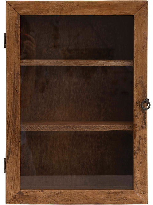 "20""H Mango Wood Cabinet with 3 Shelves & Glass Door with Hook & Eye Lock (Hangs"
