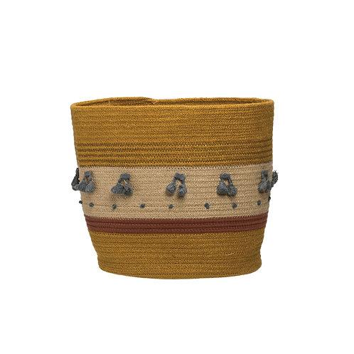 Mustard Jute Rope Basket with Stripes & Blue Tassels