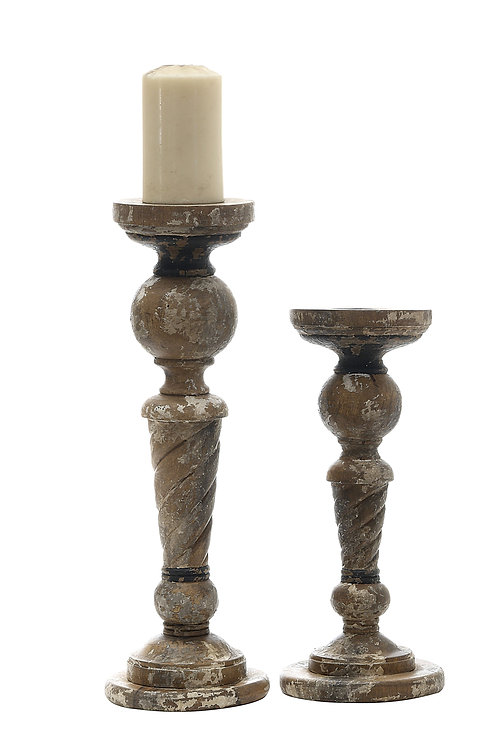 Large Distressed Black & Brown Turned Wood Pillar Candleholder