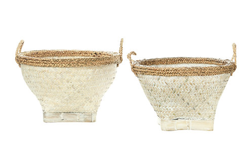"""17"""" & 20.5"""" Woven Bamboo & Water Hyacinth Baskets with Whitewashed Finish & Hand"""