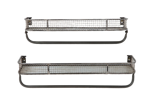 Metal Wall Shelves with Hanging Bar (Set of 2 Sizes)