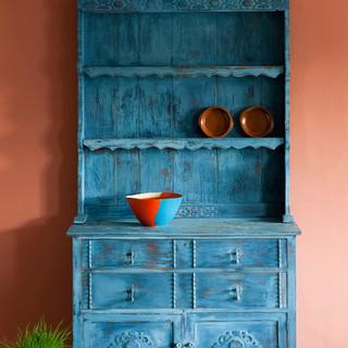 Greek Blue Kitchen Dresser Distressed