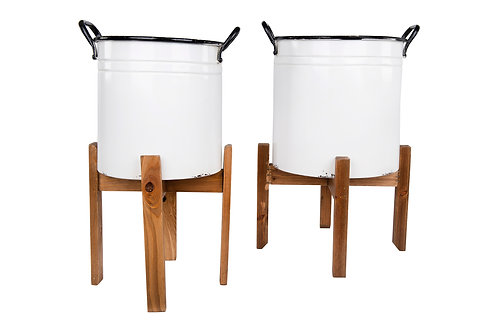 Distressed White Metal Planters with Black Rim & Handles on Natural Wood Stands