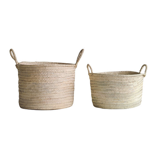 Hand Woven Moroccan Basket with Handles
