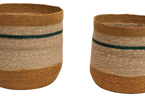 "10.75"" & 12.25"" Handwoven Natural Seagrass Striped Baskets (Set of 2 Sizes)"