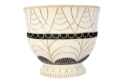 """Hand-Painted Debossed Terracotta Planter with Pedestal Base (Holds 7"""" pot)"""