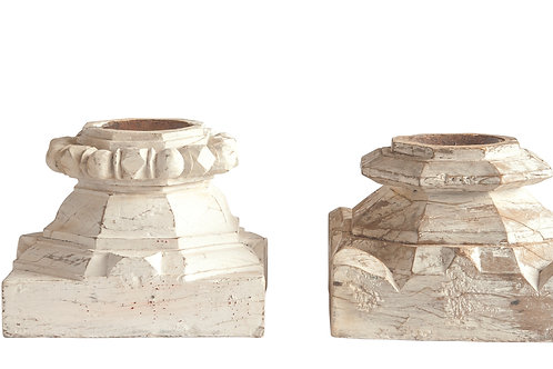 Distressed White Wood Column Candleholder
