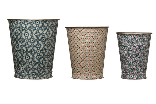Large Decorative Metal Buckets with Varied Patterns