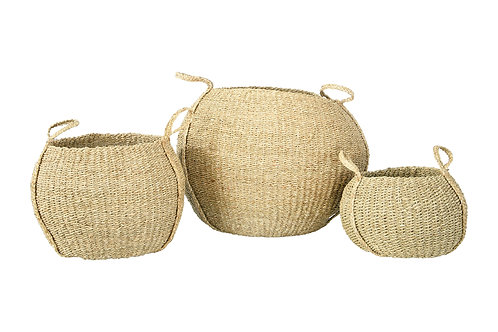 "Round 8.25"", 12"" & 16"" Handwoven Seagrass Baskets with Handles (Set of 3 Sizes)"