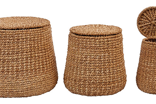 "15"", 17"" & 19"" Woven Water Hyacinth & Rattan Baskets with Lids (Set of 3 Sizes)"