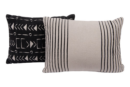 Black & White African Mudcloth Patterned Cotton Pillows