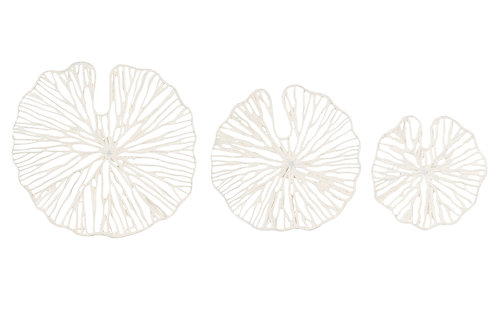 Handmade White Coral Shaped Paper & Metal Wall Décor (Set of 3 Sizes)