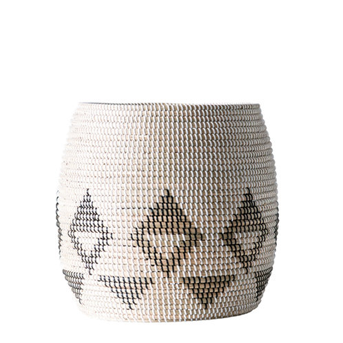 Sturdy White, Black & Brown Natural Seagrass Basket