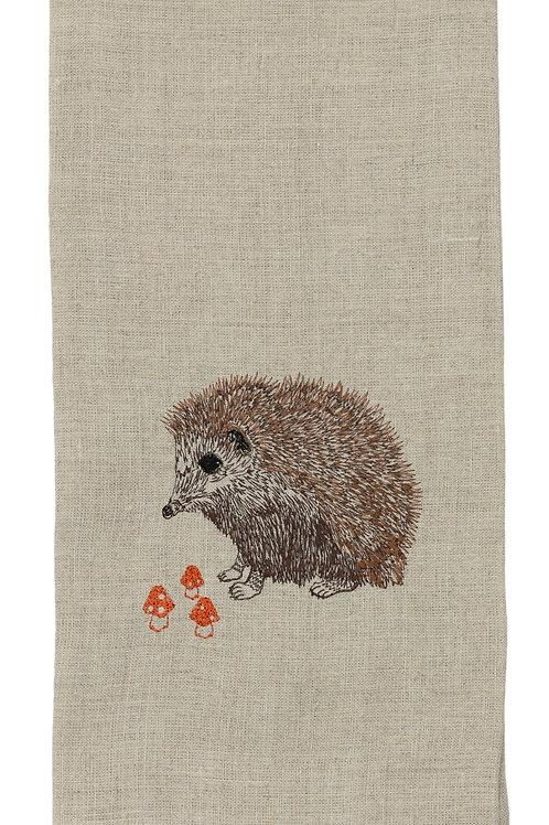 Hedgehog with Mushrooms Tea Towel