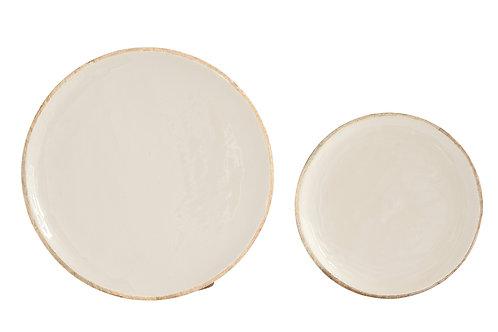 """9"""" & 12"""" Mango Wood Plates with Enameled Cream Finish (Set of 2 Sizes)"""