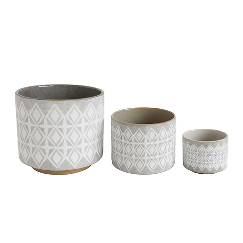 Grey & White Stoneware Pots (Set of 3 Sizes)