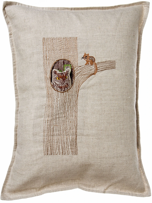 Coral & Tusk Owl in Tree Pocket Pillow