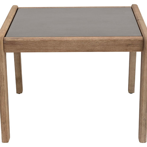 """23.75"""" Square Indoor/Outdoor Cement Accent Table with Teak Wood Frame"""
