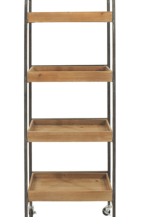 Metal & Wood 4 Tier Rack on Caster Wheels