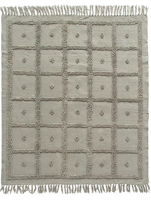 Grey Cotton Chenille Throw with Fringe