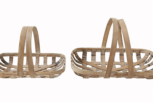 Wood Tobacco Baskets with Handles (Set of 2 Sizes)
