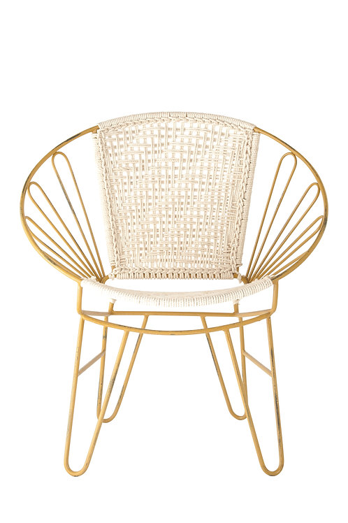Found Distressed Yellow Metal Chair with Cotton Woven Seat