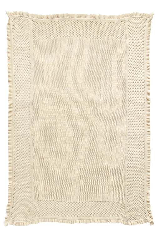 Off-White Cotton Knit Throw with Ruffled Edge