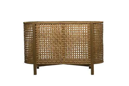 """31""""L Woven Cane Storage Container with Wood Feet"""