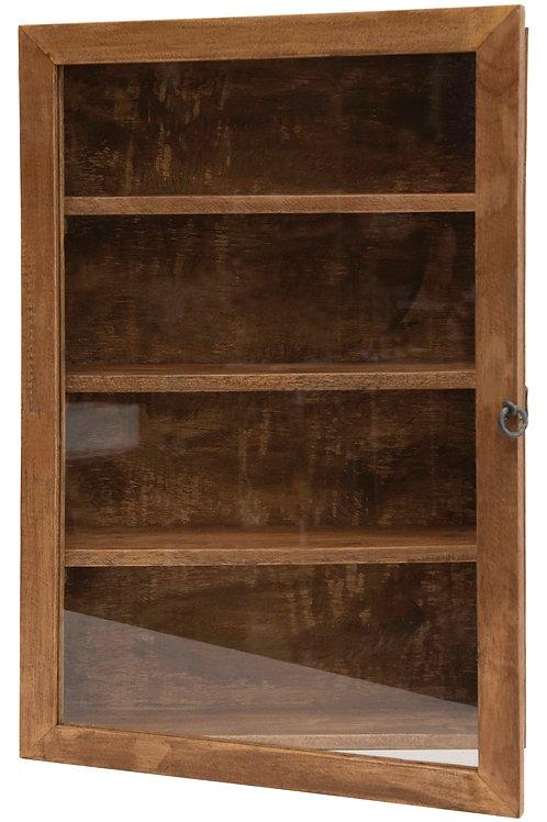 "24""H Mango Wood Cabinet with 4 Shelves & Glass Door with Hook & Eye Lock (Hangs"