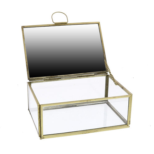 Monroe Jewelry Box With Mirror - Brass (Small)