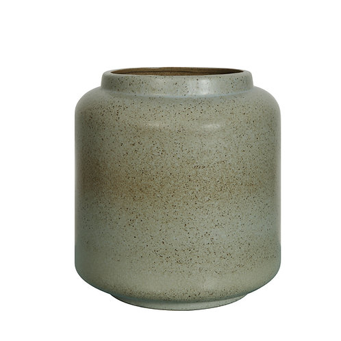 Blue Stoneware Crock with Reactive Glaze Finish