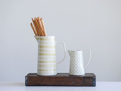 Stoneware Pitcher with Cream & Yellow Stripes
