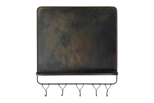 "26""H Metal Magnet Board & Wall Shelf with 5 Hooks"