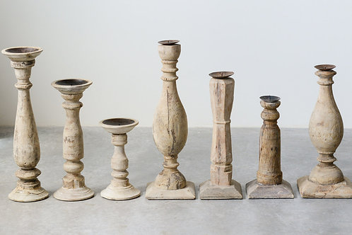 Set of 6 Different Found Wood & Metal Candleholders