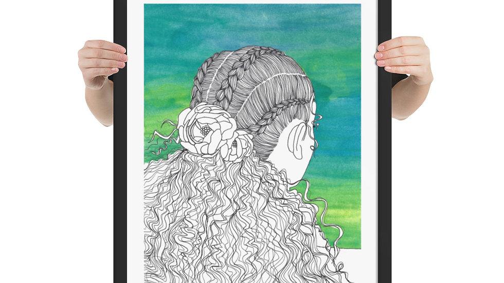 Flowers in Hair Series, Number 1, Framed poster