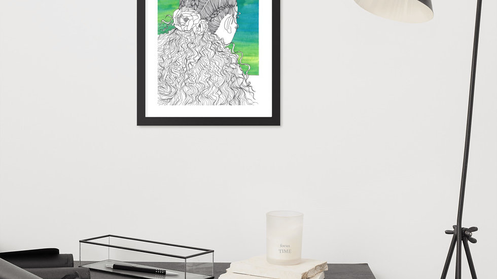 Flowers in Hair Series, Number 1, Framed photo paper poster