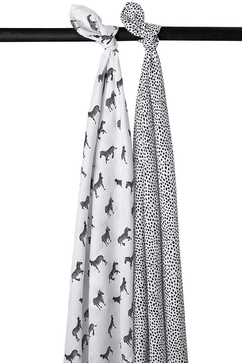 HYDROFIELE SWADDLES 2-PACK ZEBRA ANIMAL/CHEETAH - BLACK - 120X120CM