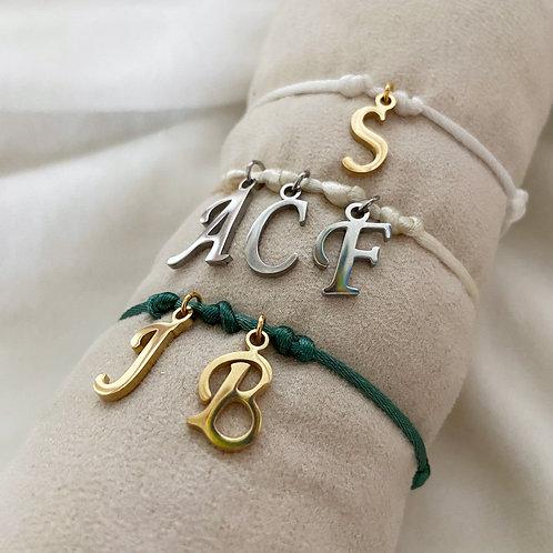 Armband Satijnkoord Initialen Hanger